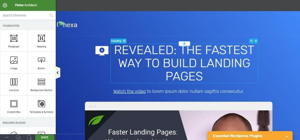 build landing page using thrive