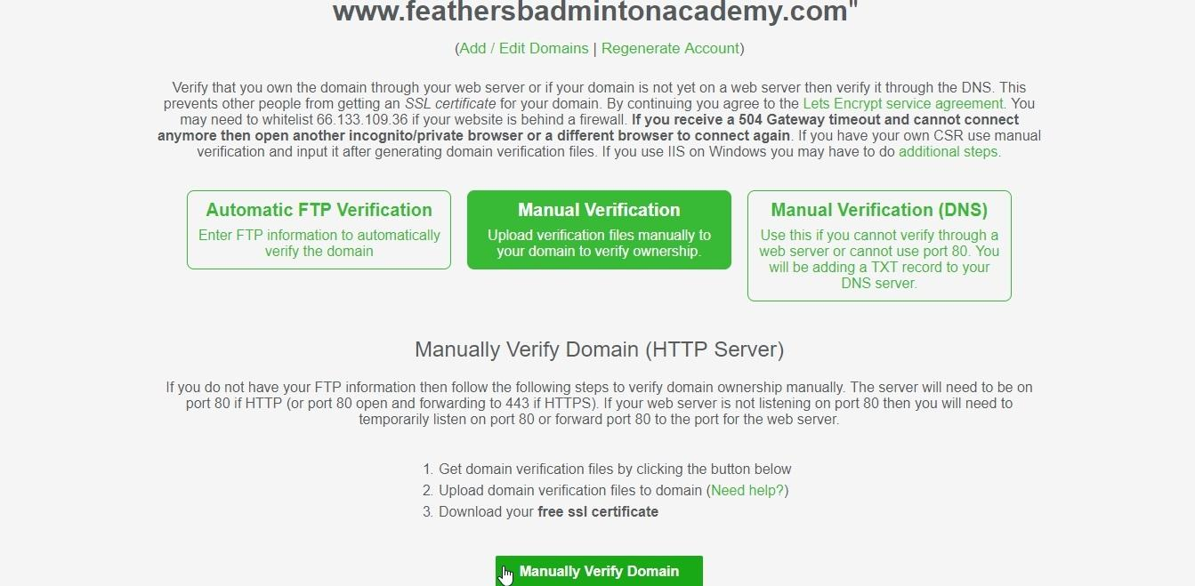 get free SSL certificate for your Website