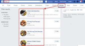 FB food groups