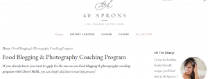 Example of food coaching website