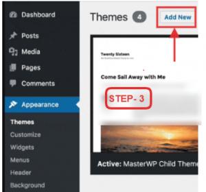 Installing Free Theme - Add new