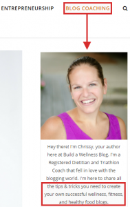 Blog coaching example