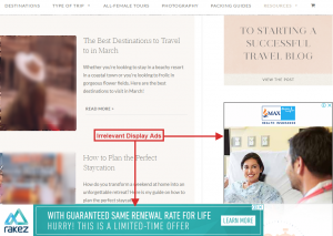 example of irrelevant display ads