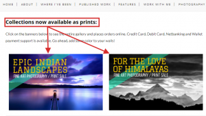 example of selling stock photos and prints