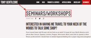 Seminar & Workshop example
