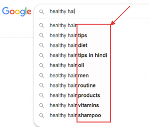 Google search result for hair care