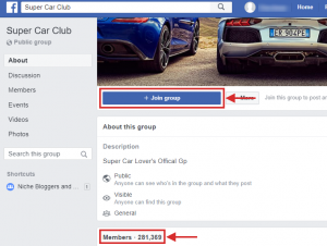 Super Car Club - a FB sports group example