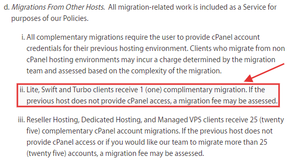 A2 Hosting migration terms