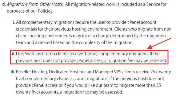 A2 Hosting migration terms
