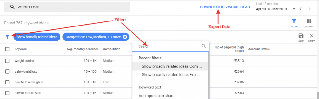 Google Ads Keyword Planner filter and data export