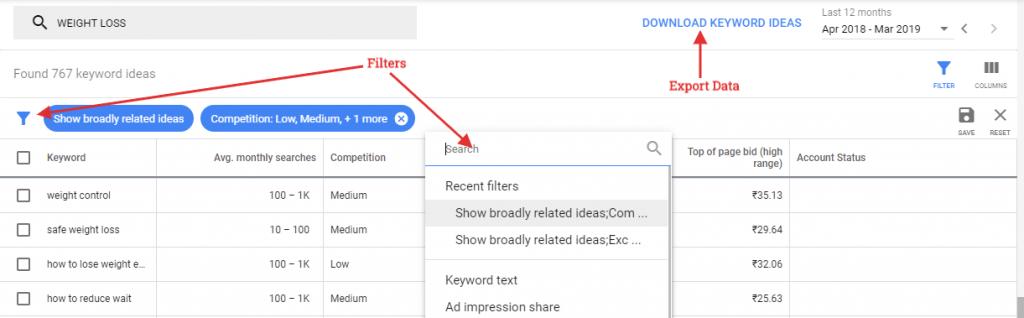 Google Ads Keyword Planner filter and data export