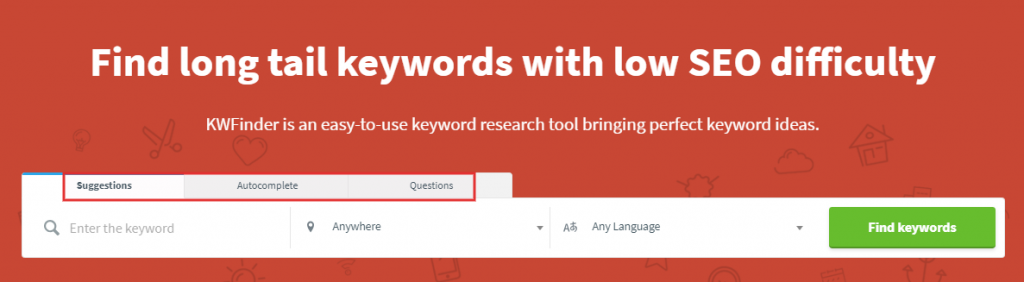 KW Finder keyword tool