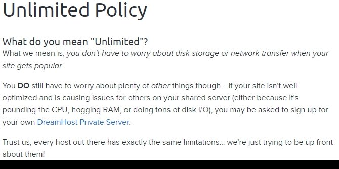 Dream Host Unlimited policy