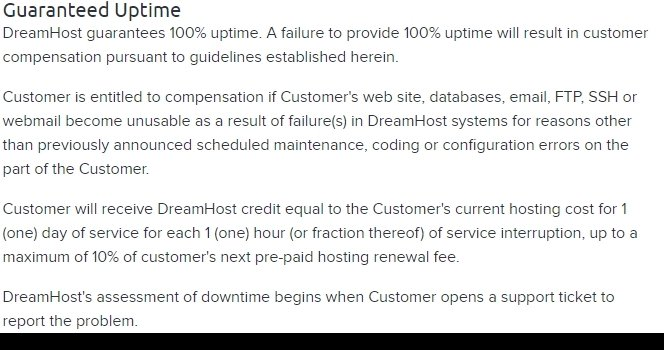 Dream Host Uptime Guarantee