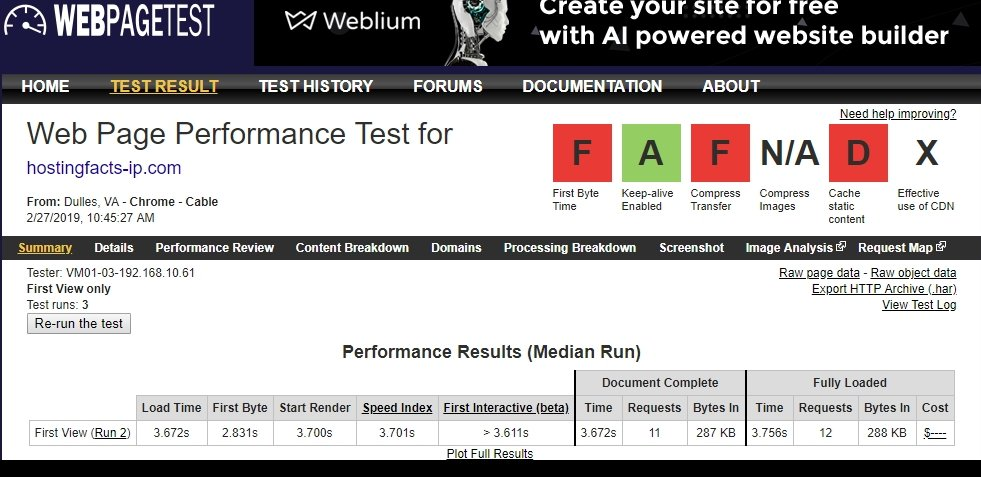 ipage Webpagetest